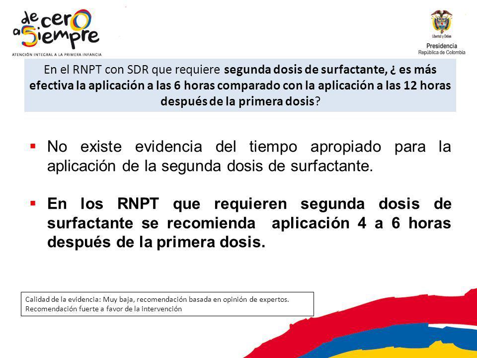 En el RNPT con SDR que requiere segunda dosis de surfactante, ¿ es más efectiva la aplicación a las 6 horas comparado con la aplicación a las 12 horas después de la primera dosis