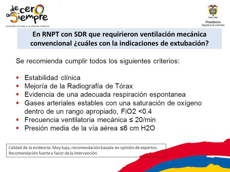 En RNPT con SDR que requirieron ventilación mecánica convencional ¿cuáles con la indicaciones de extubación