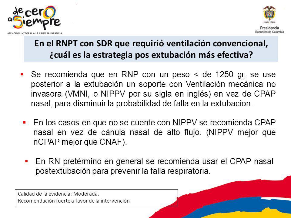 En el RNPT con SDR que requirió ventilación convencional, ¿cuál es la estrategia pos extubación más efectiva