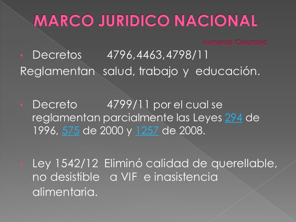 MARCO JURIDICO NACIONAL humanas Colombia