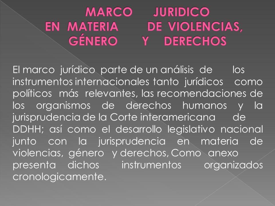 MARCO JURIDICO EN MATERIA DE VIOLENCIAS, GÉNERO Y DERECHOS
