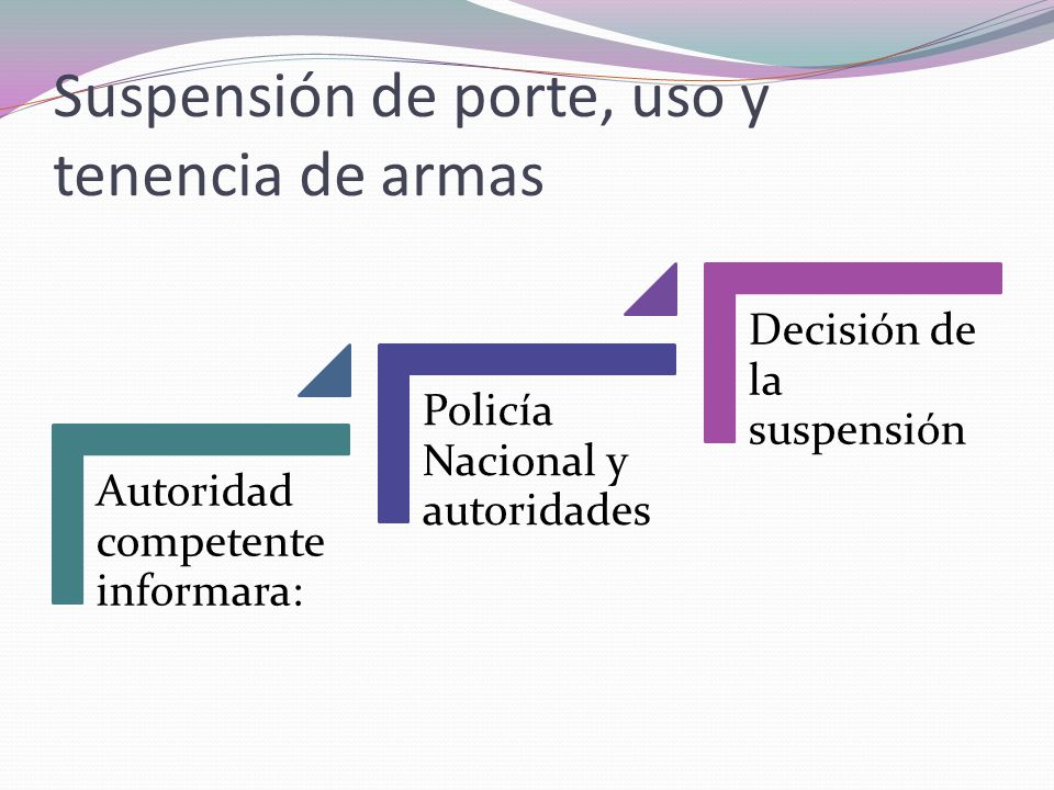 Suspensión de porte, uso y tenencia de armas