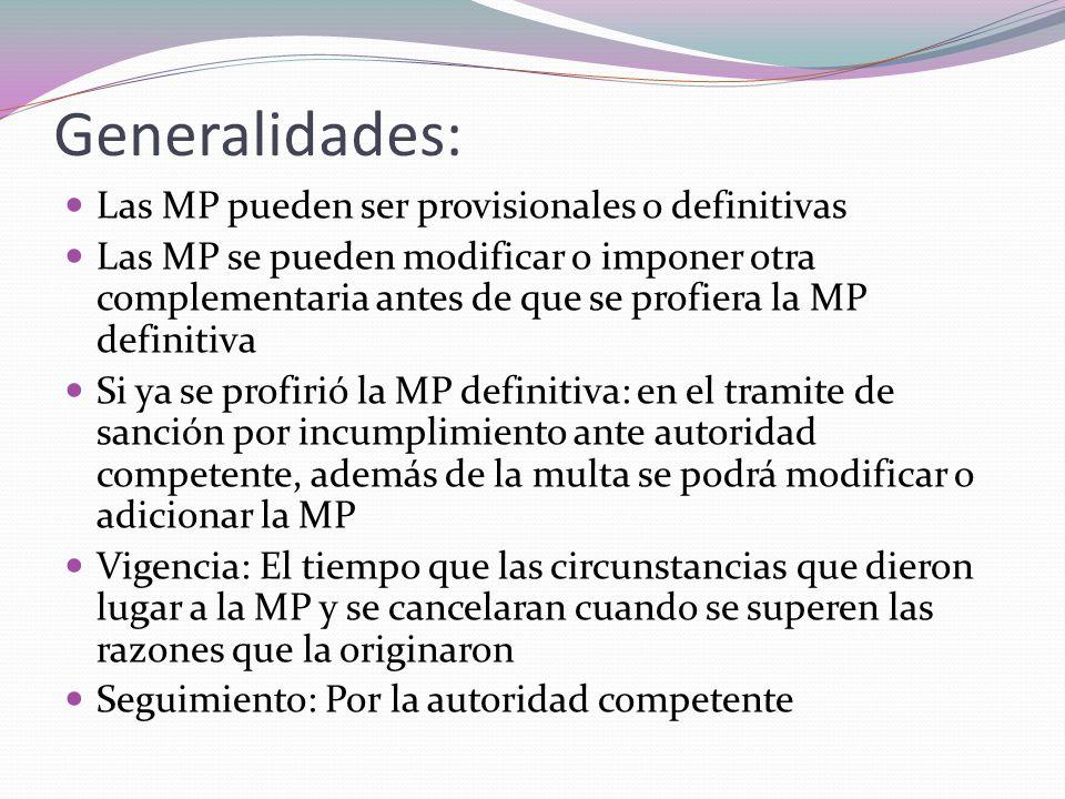 Generalidades: Las MP pueden ser provisionales o definitivas