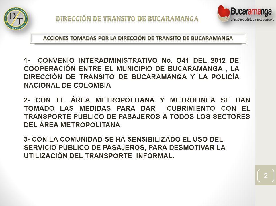 DIRECCIÓN DE TRANSITO DE BUCARAMANGA