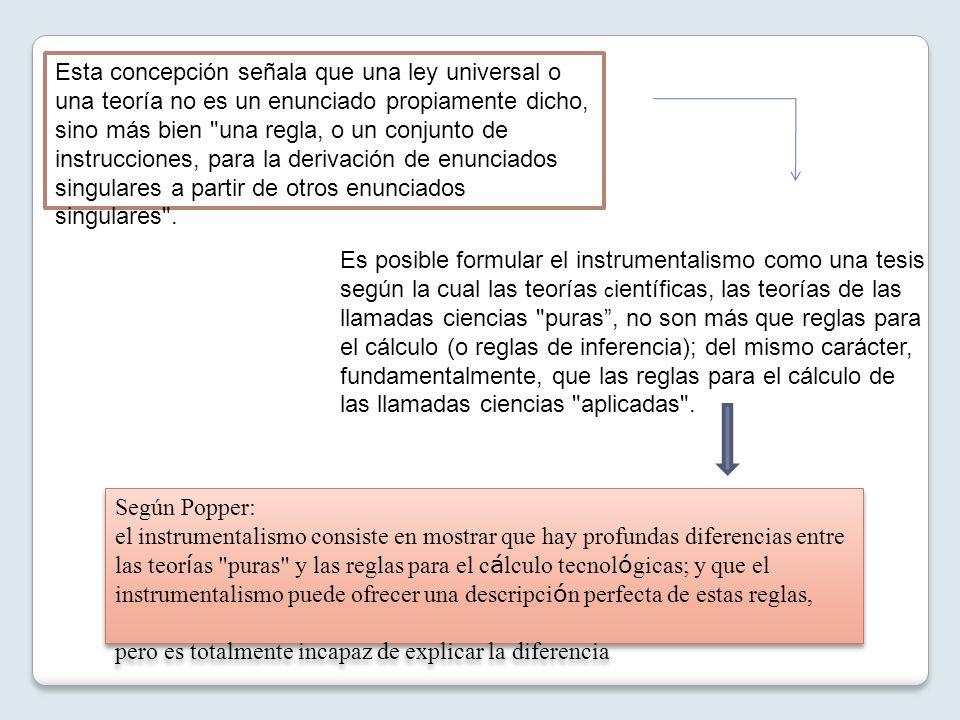 Esta concepción señala que una ley universal o una teoría no es un enunciado propiamente dicho, sino más bien una regla, o un conjunto de instrucciones, para la derivación de enunciados singulares a partir de otros enunciados singulares .