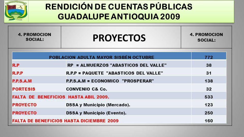 PROYECTOS RENDICIÓN DE CUENTAS PÚBLICAS GUADALUPE ANTIOQUIA 2009