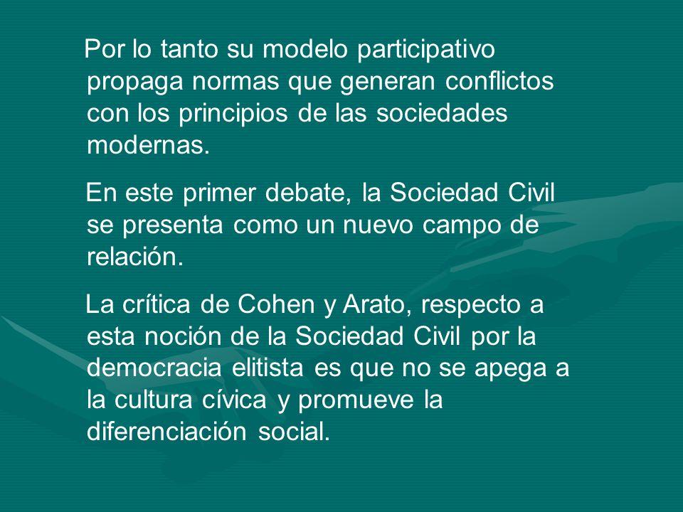 Por lo tanto su modelo participativo propaga normas que generan conflictos con los principios de las sociedades modernas.