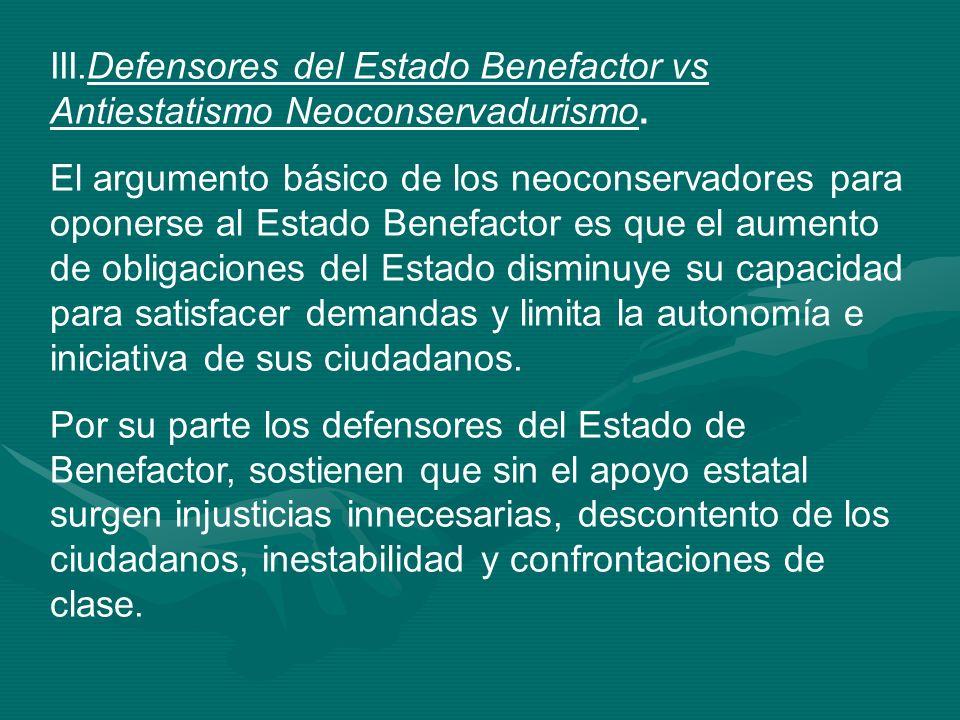 III.Defensores del Estado Benefactor vs Antiestatismo Neoconservadurismo.