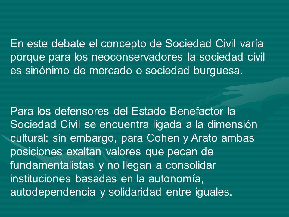 En este debate el concepto de Sociedad Civil varía porque para los neoconservadores la sociedad civil es sinónimo de mercado o sociedad burguesa.