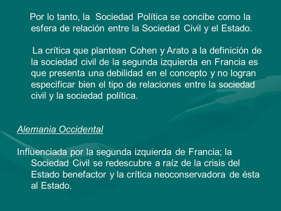 Por lo tanto, la Sociedad Política se concibe como la esfera de relación entre la Sociedad Civil y el Estado.