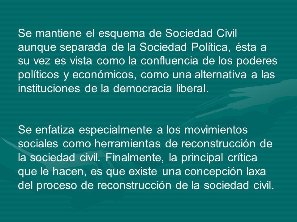 Se mantiene el esquema de Sociedad Civil aunque separada de la Sociedad Política, ésta a su vez es vista como la confluencia de los poderes políticos y económicos, como una alternativa a las instituciones de la democracia liberal.