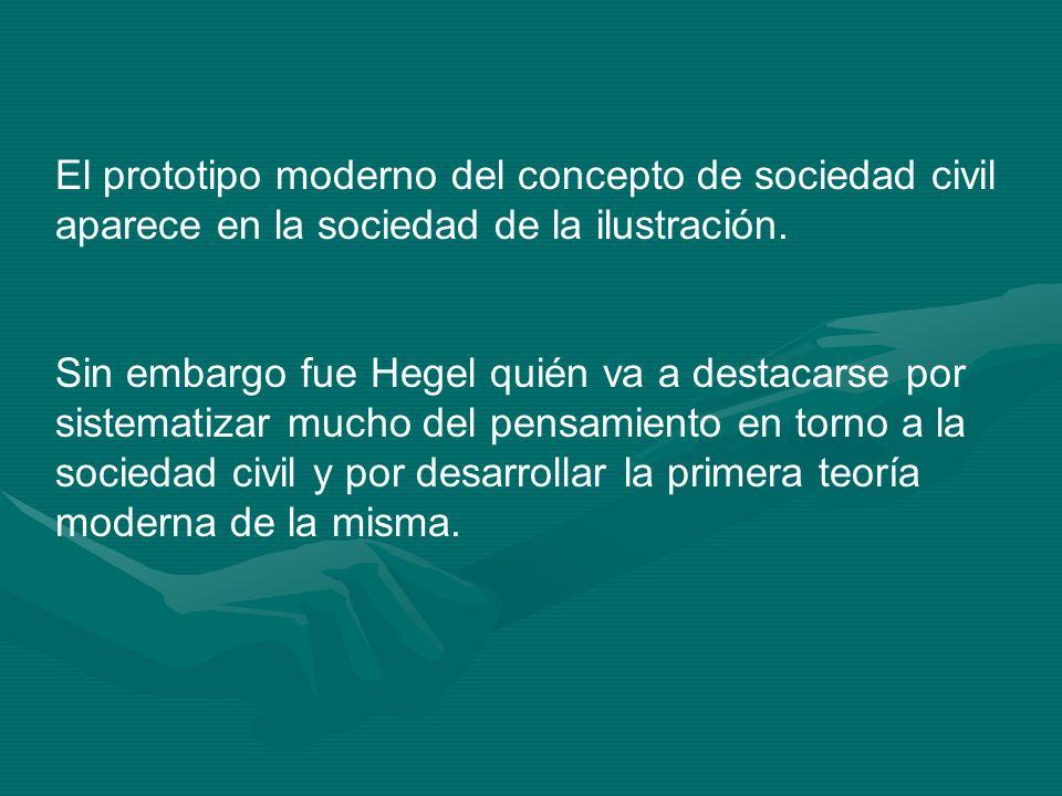 El prototipo moderno del concepto de sociedad civil aparece en la sociedad de la ilustración.