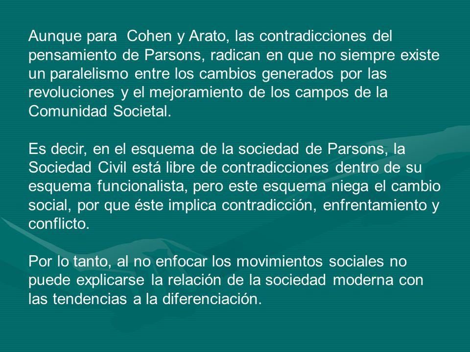 Aunque para Cohen y Arato, las contradicciones del pensamiento de Parsons, radican en que no siempre existe un paralelismo entre los cambios generados por las revoluciones y el mejoramiento de los campos de la Comunidad Societal.