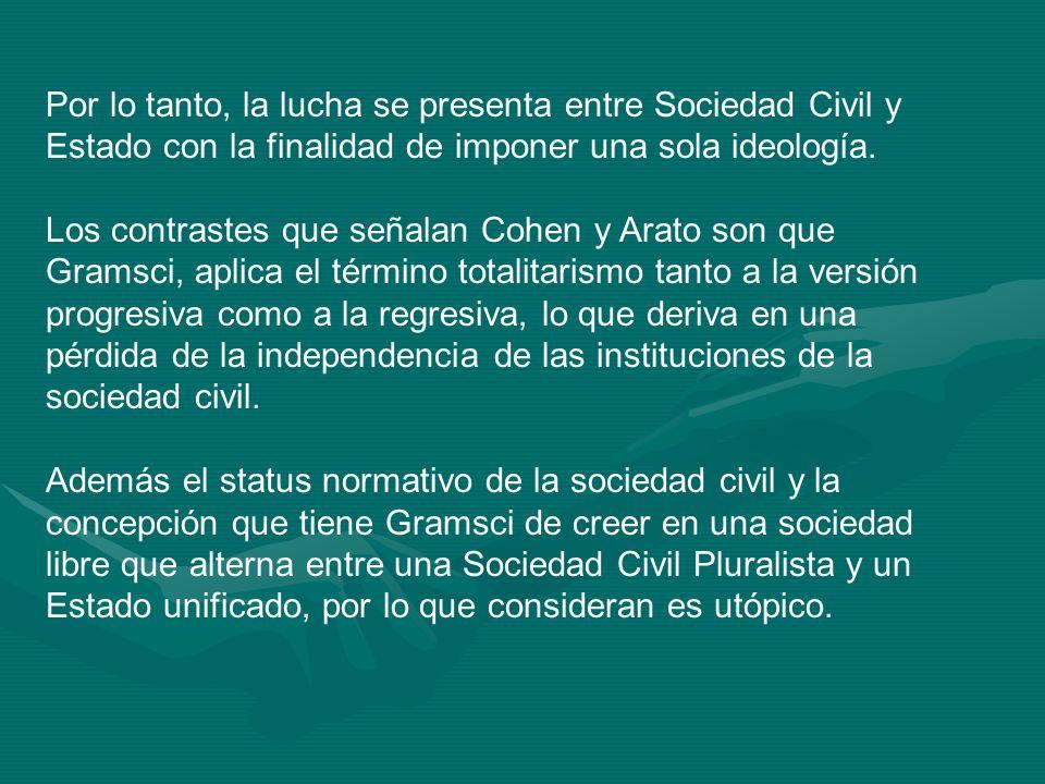 Por lo tanto, la lucha se presenta entre Sociedad Civil y Estado con la finalidad de imponer una sola ideología.