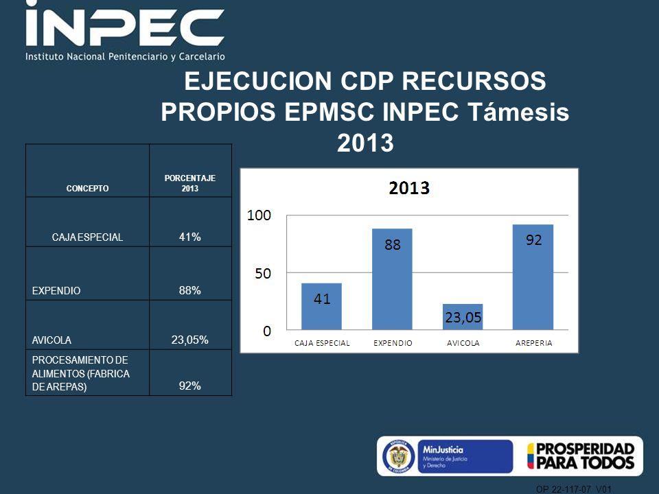 EJECUCION CDP RECURSOS PROPIOS EPMSC INPEC Támesis 2013