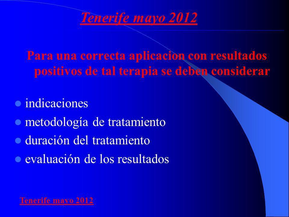 Tenerife mayo 2012 Para una correcta aplicacion con resultados positivos de tal terapia se deben considerar.