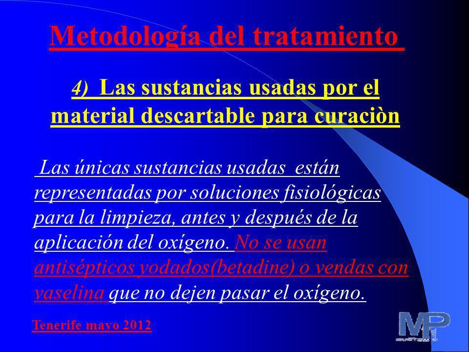 4) Las sustancias usadas por el material descartable para curaciòn