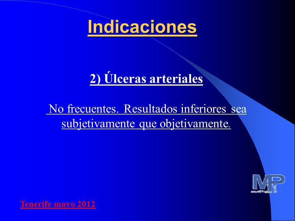 Indicaciones 2) Úlceras arteriales