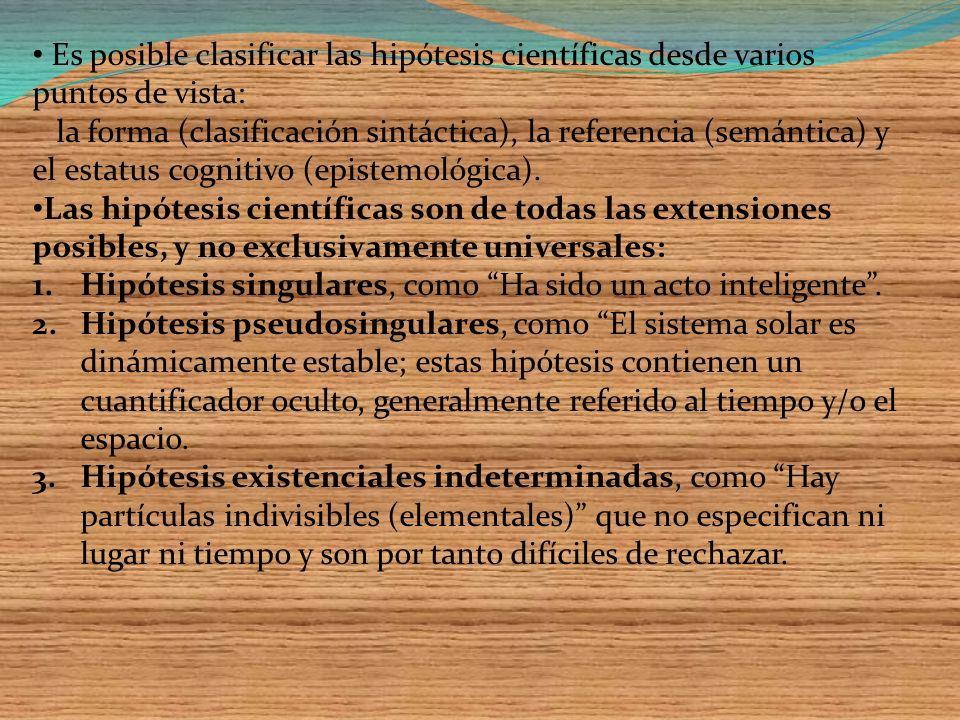 Es posible clasificar las hipótesis científicas desde varios puntos de vista: