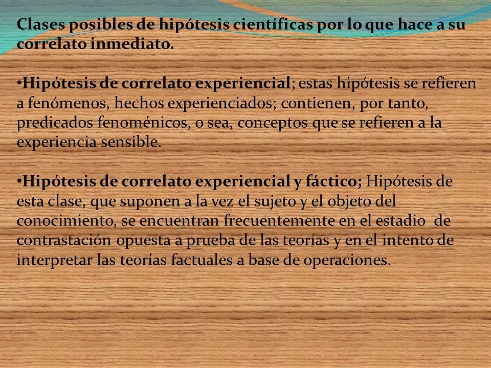 Clases posibles de hipótesis científicas por lo que hace a su correlato inmediato.