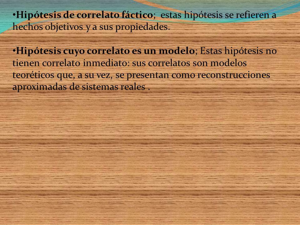 Hipótesis de correlato fáctico; estas hipótesis se refieren a hechos objetivos y a sus propiedades.