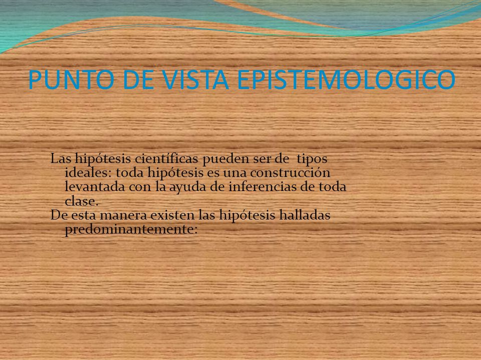PUNTO DE VISTA EPISTEMOLOGICO