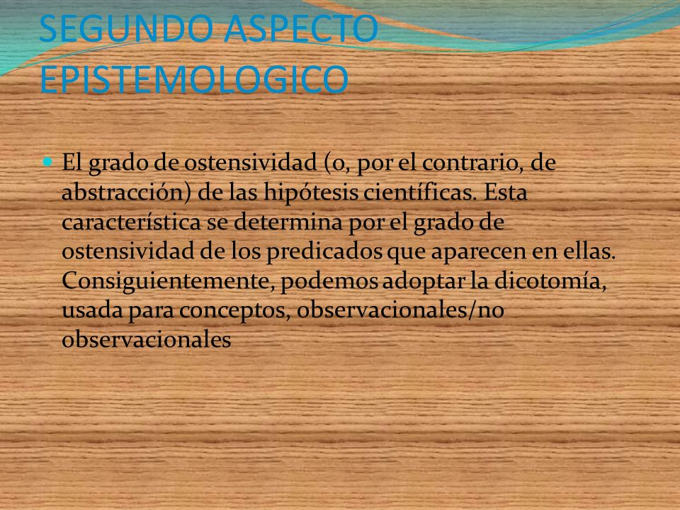 SEGUNDO ASPECTO EPISTEMOLOGICO