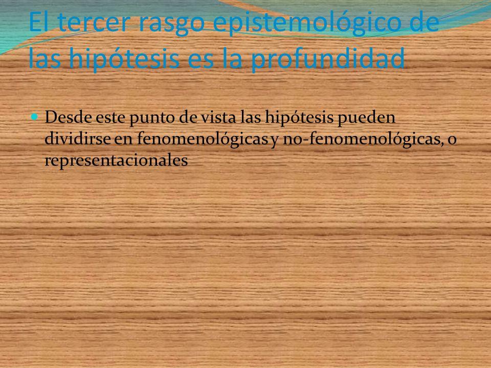 El tercer rasgo epistemológico de las hipótesis es la profundidad