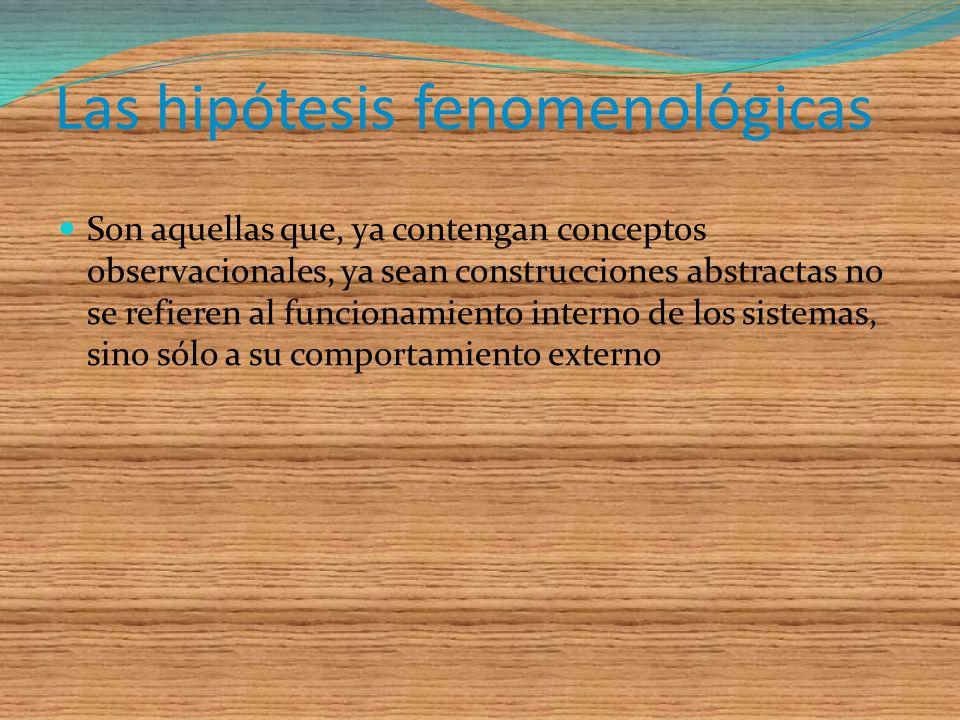 Las hipótesis fenomenológicas