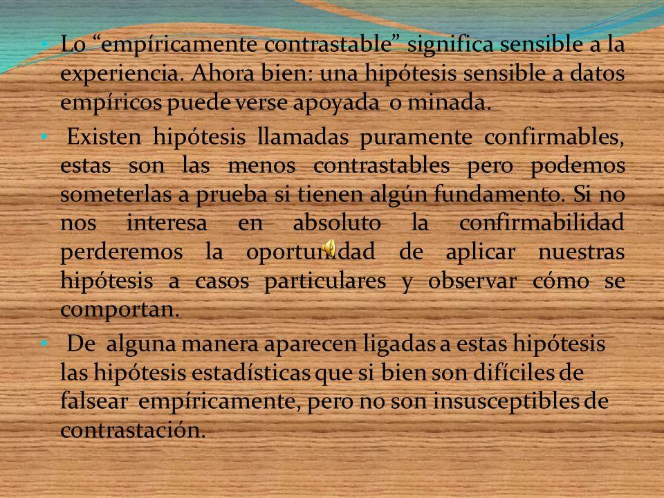 Lo empíricamente contrastable significa sensible a la experiencia