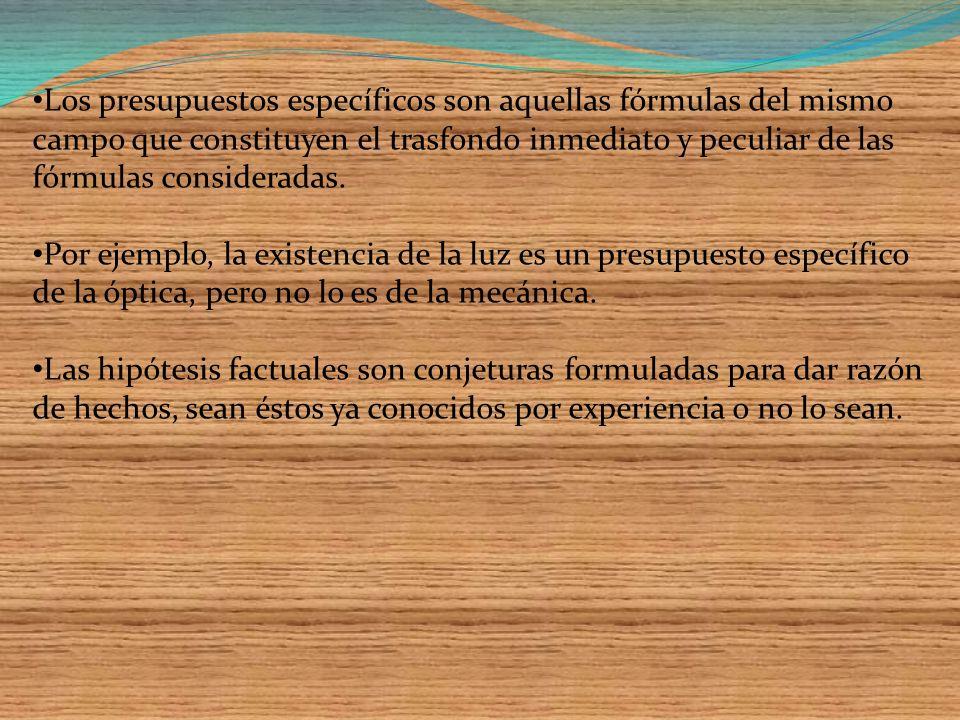 Los presupuestos específicos son aquellas fórmulas del mismo campo que constituyen el trasfondo inmediato y peculiar de las fórmulas consideradas.
