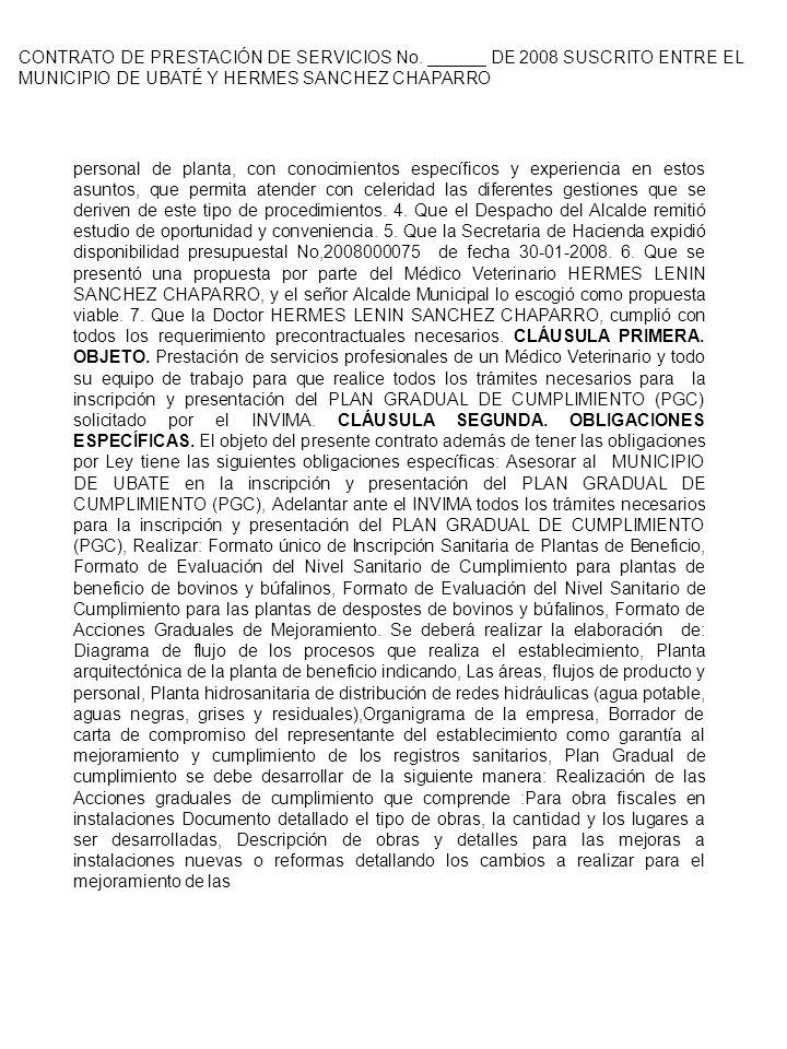 CONTRATO DE PRESTACIÓN DE SERVICIOS No