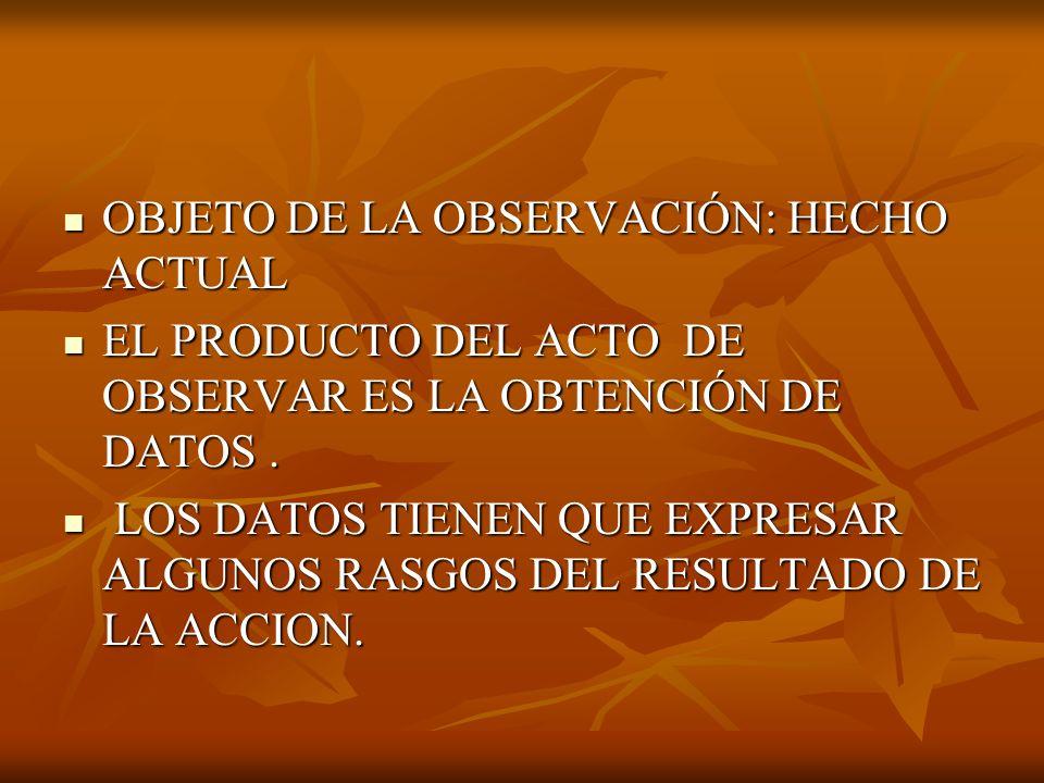 OBJETO DE LA OBSERVACIÓN: HECHO ACTUAL
