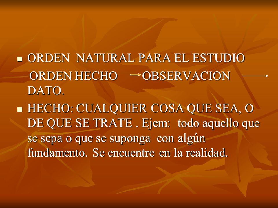 ORDEN NATURAL PARA EL ESTUDIO