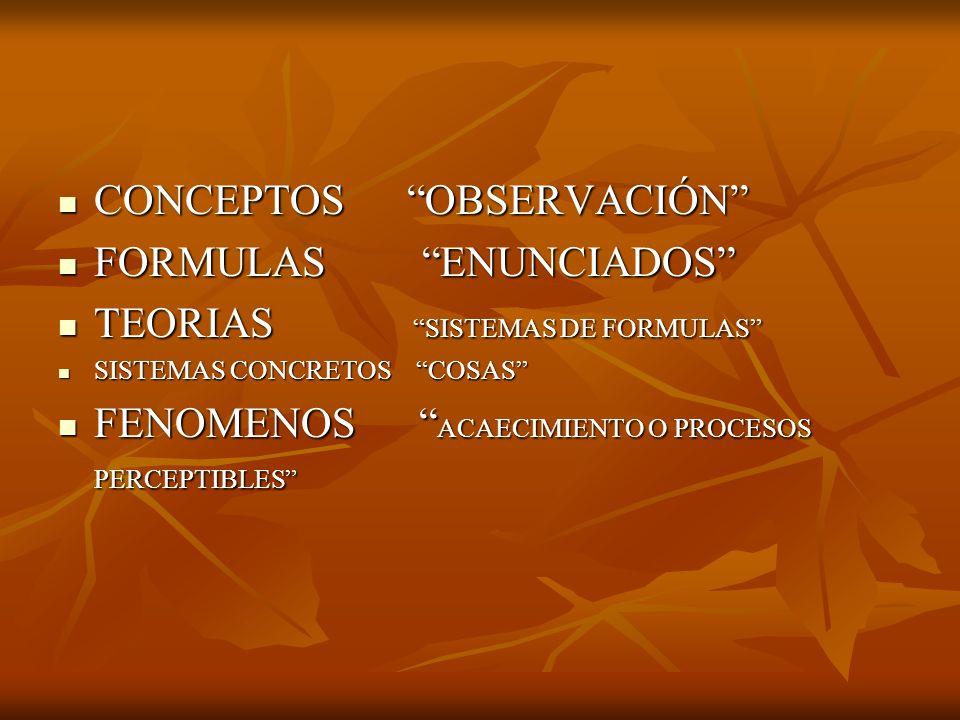 CONCEPTOS OBSERVACIÓN FORMULAS ENUNCIADOS