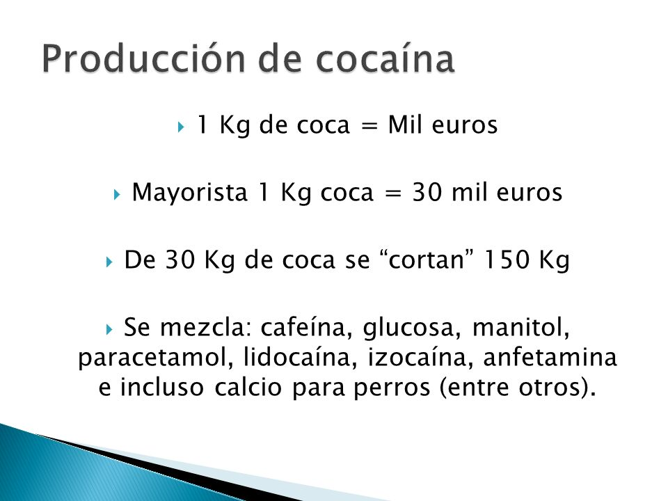 Producción de cocaína 1 Kg de coca = Mil euros