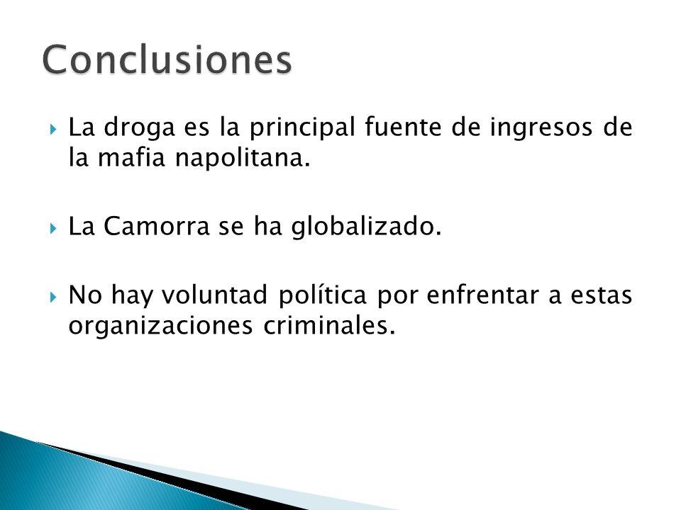 Conclusiones La droga es la principal fuente de ingresos de la mafia napolitana. La Camorra se ha globalizado.