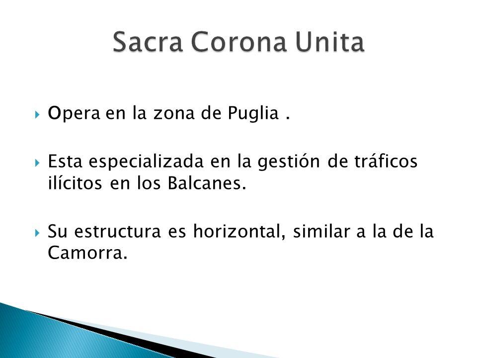 Sacra Corona Unita Opera en la zona de Puglia .