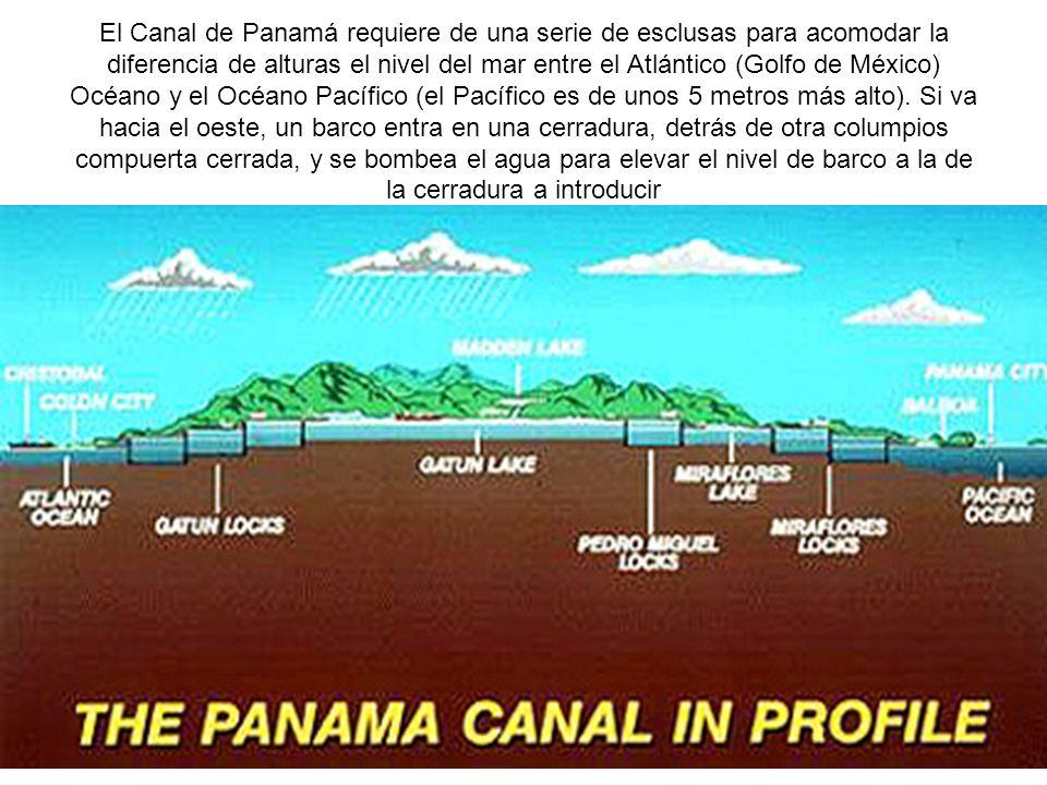 El Canal de Panamá requiere de una serie de esclusas para acomodar la diferencia de alturas el nivel del mar entre el Atlántico (Golfo de México) Océano y el Océano Pacífico (el Pacífico es de unos 5 metros más alto). Si va hacia el oeste, un barco entra en una cerradura, detrás de otra columpios compuerta cerrada, y se bombea el agua para elevar el nivel de barco a la de la cerradura a introducir