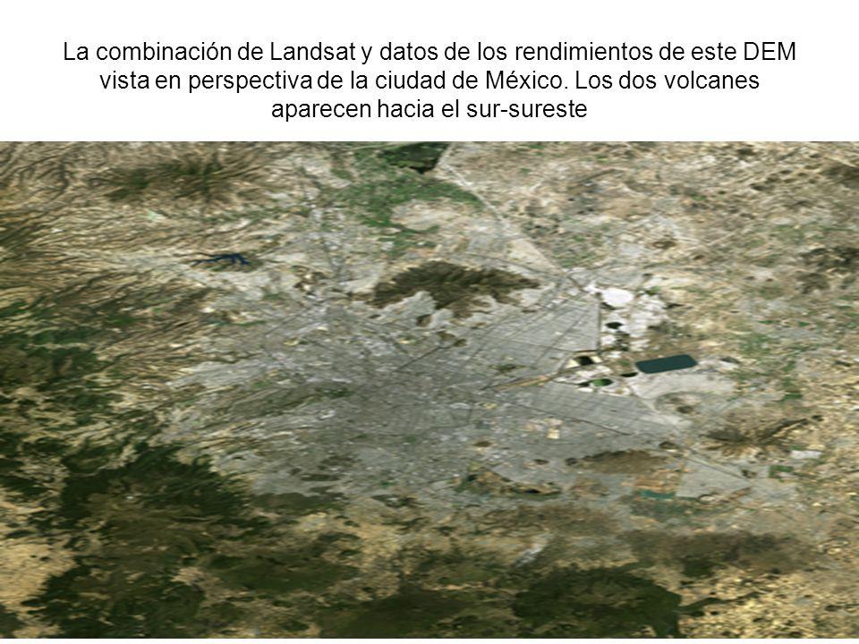 La combinación de Landsat y datos de los rendimientos de este DEM vista en perspectiva de la ciudad de México. Los dos volcanes aparecen hacia el sur-sureste