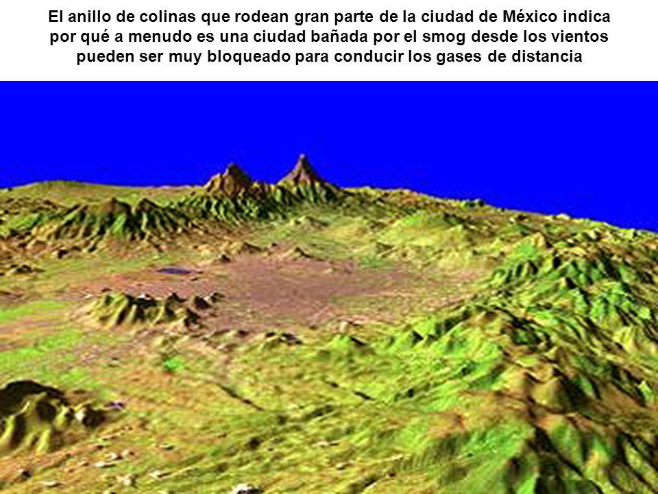 El anillo de colinas que rodean gran parte de la ciudad de México indica por qué a menudo es una ciudad bañada por el smog desde los vientos pueden ser muy bloqueado para conducir los gases de distancia