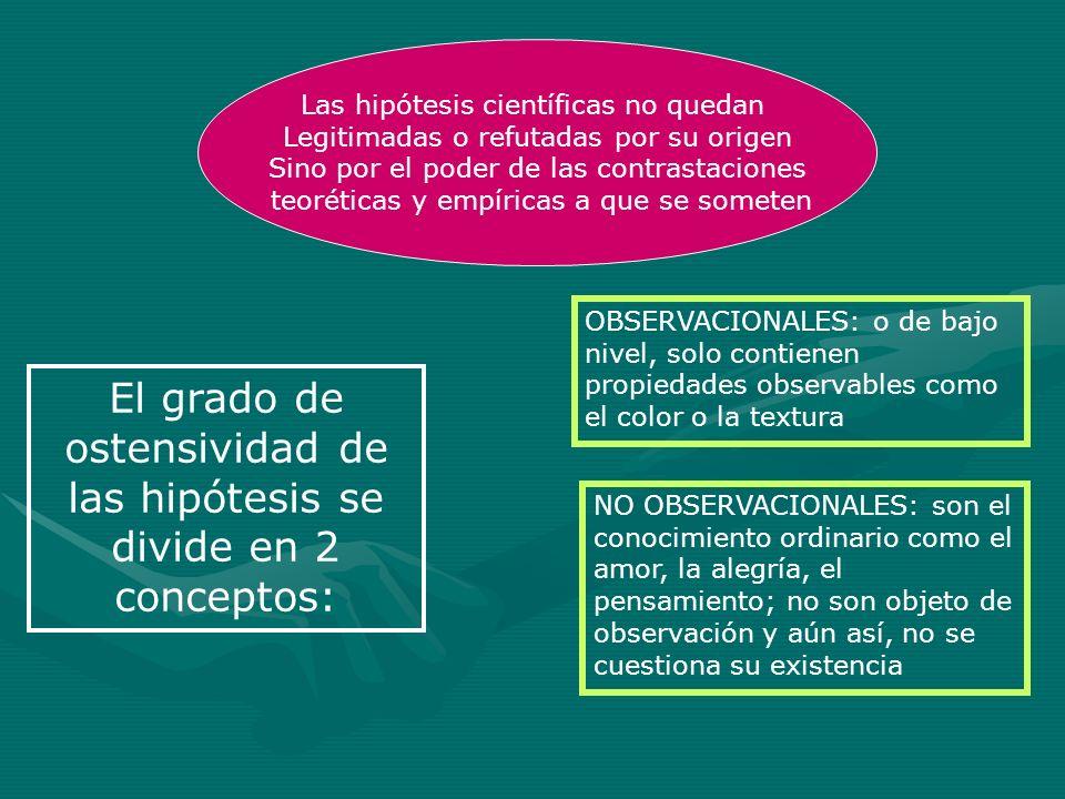 El grado de ostensividad de las hipótesis se divide en 2 conceptos: