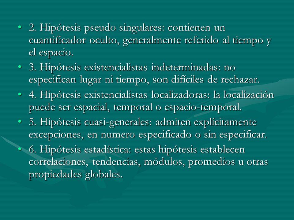 2. Hipótesis pseudo singulares: contienen un cuantificador oculto, generalmente referido al tiempo y el espacio.