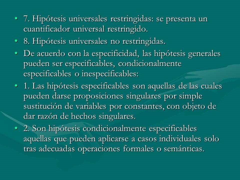 7. Hipótesis universales restringidas: se presenta un cuantificador universal restringido.