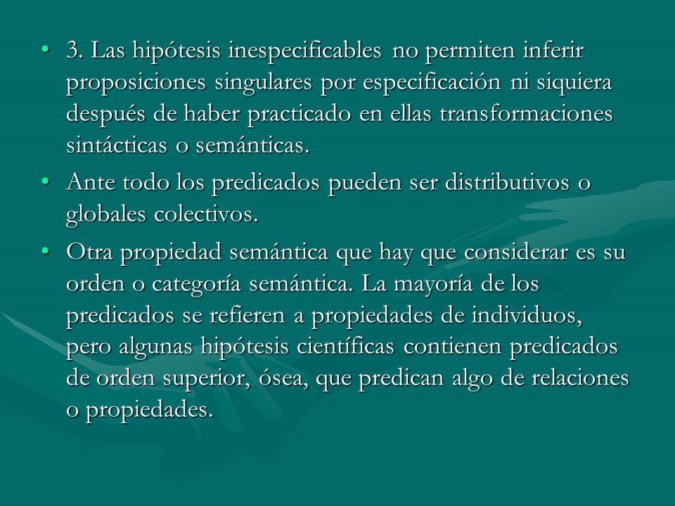 3. Las hipótesis inespecificables no permiten inferir proposiciones singulares por especificación ni siquiera después de haber practicado en ellas transformaciones sintácticas o semánticas.
