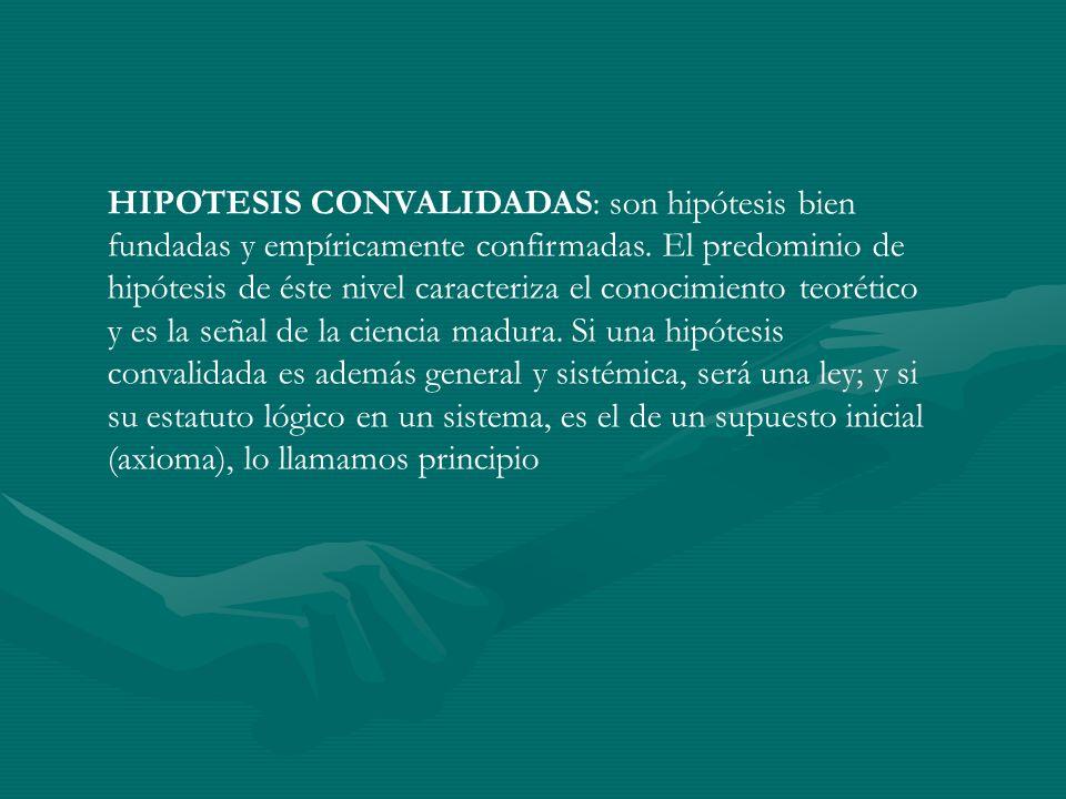 HIPOTESIS CONVALIDADAS: son hipótesis bien fundadas y empíricamente confirmadas.