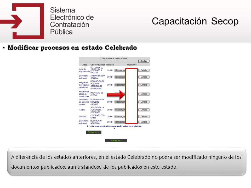 Modificar procesos en estado Celebrado