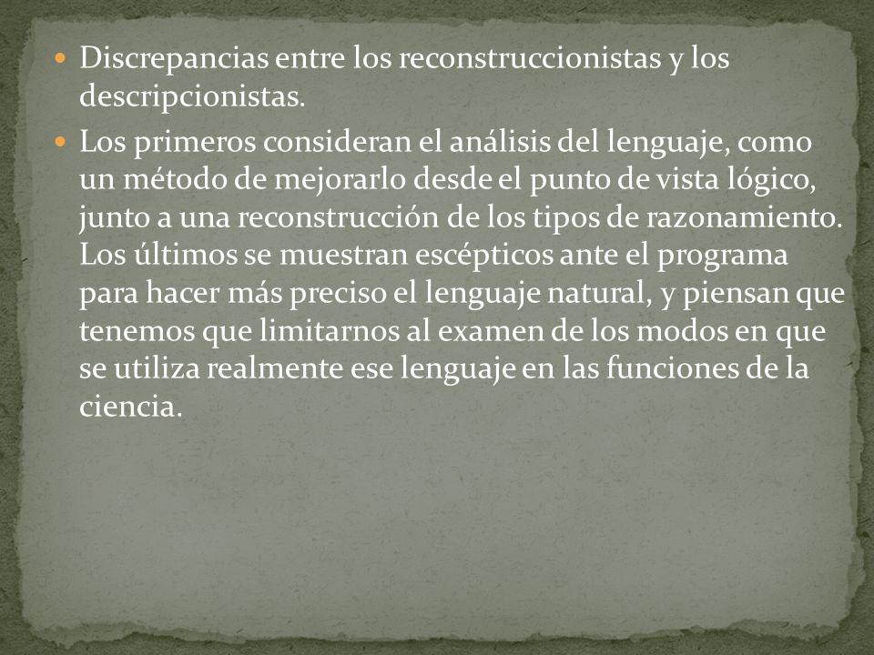 Discrepancias entre los reconstruccionistas y los descripcionistas.