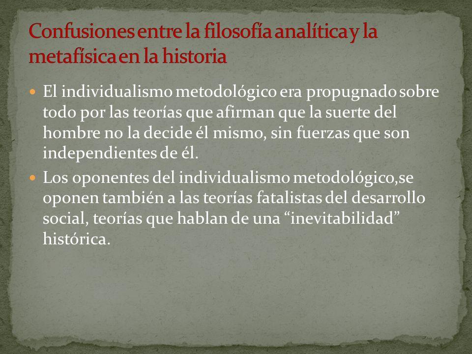 Confusiones entre la filosofía analítica y la metafísica en la historia