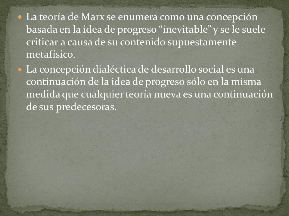 La teoría de Marx se enumera como una concepción basada en la idea de progreso inevitable y se le suele criticar a causa de su contenido supuestamente metafísico.